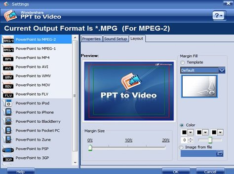 select an output file format
